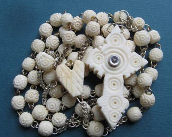 Antique Stanhope Rosary French Carved Bone Hidden Lourdes Grotto Burlington Wisconsin  SS507