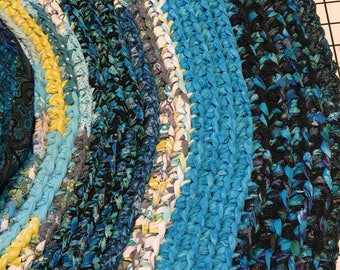 """Turquoise and Chartreuse """"Braided"""" Rug"""
