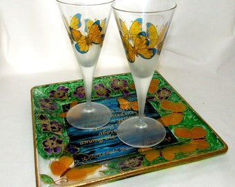 Yellow Butterfly Wedding Glassware Hand Painted Toasting Glasses, Butterfly Flower Garden Poem Cake Platter, Butterfly Home Decor