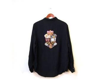 30% OFF Vintage 80s Oversized Black Oleg Cassini Button Up Sequined Oxford Blouse s m l