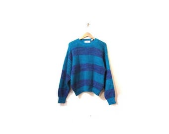 30% OFF Vintage 80s Oversized Chunky Knit Teal and Purple Striped Cosby Sweater s m