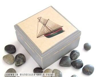 Vintage Sailboat Square Box - Sailboat Box - Masculine Man Cave Decor - Nautical Themed Square Box - Cape Cod - Mens Jewelry Box