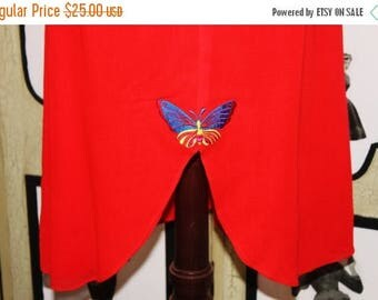 Summer Sale 20% Off Vintage 1970's Butterfly Skirt in Cherry Red with Tulip Hem. Small.