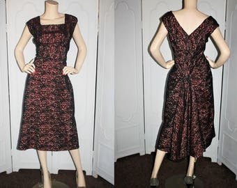 Vintage 1950's Dress. Black and Pink Illusion Dress with Back Train and Bustle. Large to XL.