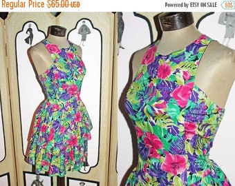 ON SALE Vintage 80's/90's Two Tiered Floral Sundress with Smocked Back. Small to Medium.