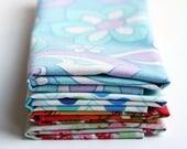 Fabric Napkins, Cloth Napkins, Reusable Napkin Set, Vintage mixed hues, Handmade by Knotted Nest