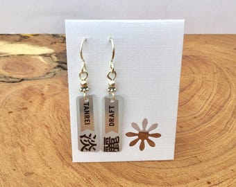 Recycled Japanese beer can earrings