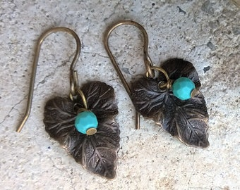 Leaf Brass Genuine Turquoise Earrings WOODLAND 'Sky'-Vintaj Brass,Tuquoise earrings,Turquoise beaded jewelry