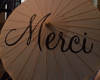 Merci Parasol Umbrella Decor White Ivory Wedding Parasol Ceremony Decoration Thank You Parasol Custom Sign Photo Prop