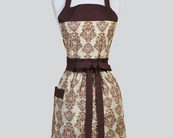 SALE Classic Womens Apron , Coffee Brown Earthy Damask Retro Vintage Style Full Kitchen Apron with Pocket