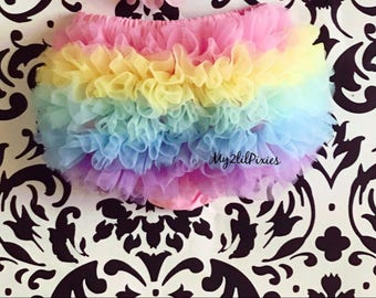 Rainbow Bloomers ,Pastel Bloomers, Unicorn Birthday, Ruffle Bum Bloomers. Baby Girl Bloomers,  Bloomer,Ruffle diaper cover, Ruffle bloomer