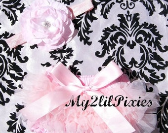 SALE BLOOMERS and HEADBAND, light pink, Ruffle bloomers, bloomer, Diaper cover, Headband, Flower headband, Baby Girl set, Newborn, Infant