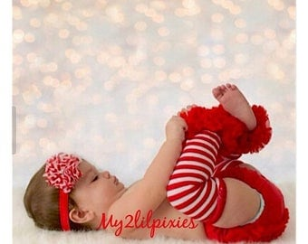SALE Baby Bloomers, Baby Girl Headband and Leg Warmers ,Christmas Outfit ,Diaper Cover, red white stripe Leg warmers- Baby's first Christmas