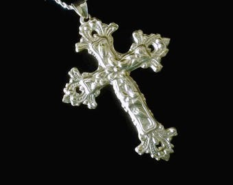 Sterling Silver Cross Necklace Large Cross Necklace Ornate Cross Pendant Necklace