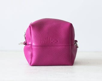 Makeup bag in hot pink leather, cosmetic case accessory bag  pouch travel case square jewelry case - Cube