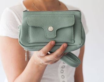 Wristlet wallet in mint green leather, womens phone wallet phone case zipper wallet clutch wallet - Thalia Wallet