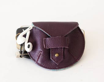 SALE Purple leather case for earphones, earbuds pouch headphone holder cable holder organizer earphone keeper coin purse