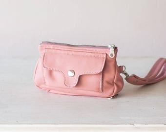 Phone leather wallet in pale pink, wristlet phone case womens wallet zip phone wallet case wristlet wallet - Thalia Wallet