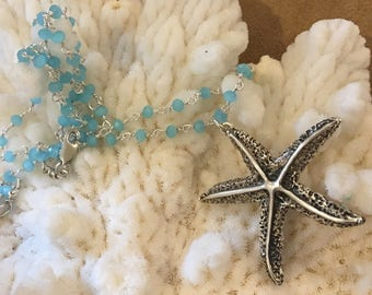 Gorgeous Vintage-Antique Starfish pendant necklace with chalcedony & sterling wire wrap chain