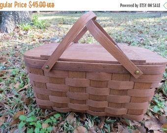 On SALE Vintage Wooden Woven Picnic Basket by Basketville Vermont