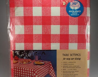 red and white check vinyl flocked round table cover tablecloth party bbq supplies