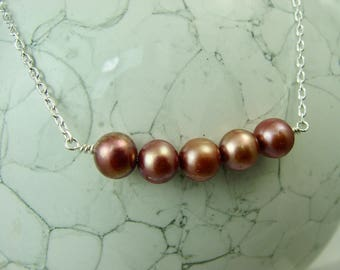 Rose Pearl Necklace / Freshwater Pearl necklace / Silver and Pearl Necklace / Pearl Bar Necklace