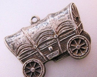 XMAS in JULY SALE Antique Vintage Covered Wagon Silver Charm Jewelry Jewellery