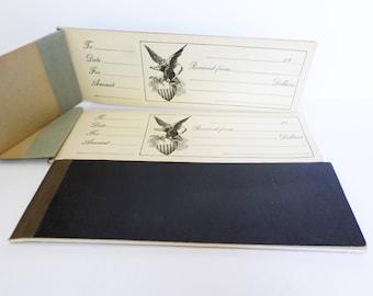 Vintage Receipt Book, 24 Vintage Receipts, Eagle Patriotic Receipt Book, Banking Ephemera, Banking Scrapbook Supply, Mixed Media