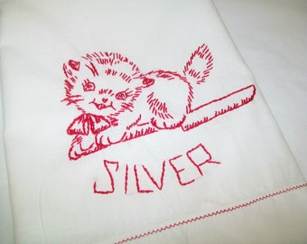 SALE - Vintage Hand Stitched Kitchen Towel, Kitten, Silver towel, dish towel, hand towel, 1960s