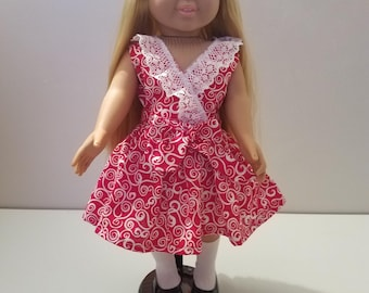 """American Girl 18"""" doll clothes red and white criss cross faux wrap dress"""