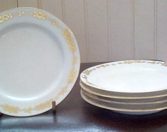 Gold and White Porcelain Dessert Plates Set of 5