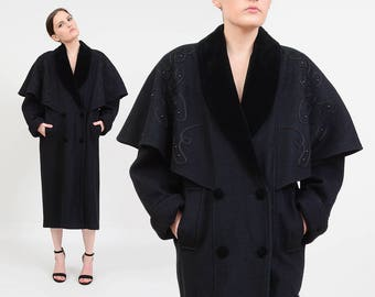 Vintage 80s Black Wool Coat | Beaded Cape Jacket | Capelet Full Length Coat | Victorian Goth Long Oversize Duster Jacket | size Medium M