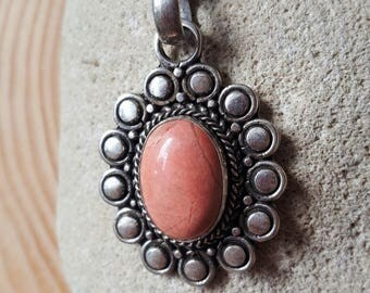 New Listing Sale... RARE Stunning Mexican Pink Opal Sterling Silver 925 Pendant/Necklace. Pink Opal 925. Mexico Opal 925.  Mexican Opal 925