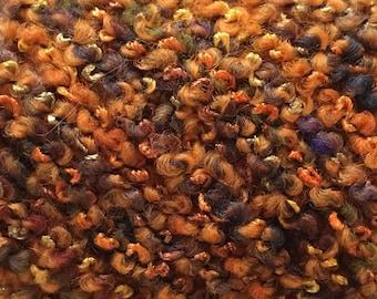 Filatura di Crosa Curly #134 Flint Corn - Orange Slate Green Gold Purple - Wool Blend Boucle Yarn 50 gram 44 yards Super Bulky & Soft
