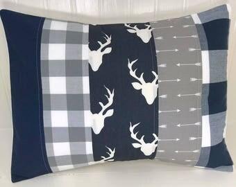Buffalo Plaid Pillow Cover Cushion Cover Throw Pillows Nursery Decor Woodland Nursery 12 x 16 Navy Blue Grey Gray Arrow Buck Deer Baby Boy