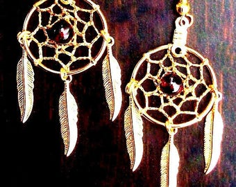 SALE SEMINOLE WIND Gold Dream catcher earrings with garnet, dreamcatcher earrings, dream catcher jewelry