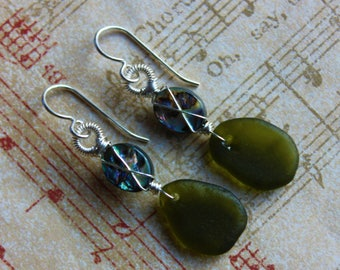 Beachcomber - Sea Glass and Abalone Earrings