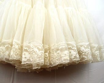 Vintage White Tulle Malco Modes Partners Please Country Western Lace Crinoline Slip - XS, Girls
