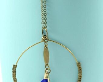 Minimalist necklace, brass, round, blue feathers, brass, minimalist necklace charm necklace