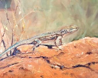 Original southwest lizard oil painting, lizard landscape art,wall decor, home decor, desert reptile art, Janice Trane Jones, red rock art