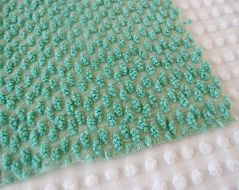 "Vintage Chenille bedspread fabric piece - Morgan Jones green scatter oval popcorn - 25"" x 32"" - 400-217"