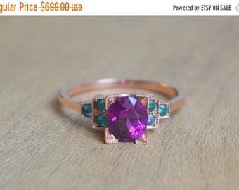 SALE Gold Ring, Rose Gold Ring, Purple Garnet Ring, Garnet Ring, Color Change Garnet Ring, Edwardian Ring, Engagement Ring, Gift for Women