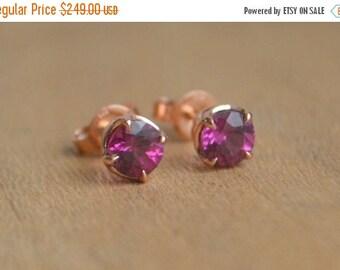 SALE Garnet Studs, Rose Gold, purple garnet earrings, antique studs, scroll studs, scroll earrings, gemstone, gems, gifts for moms