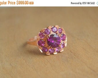 SALE Rose Gold Cocktail Ring, purple gemstone cocktail ring, 1940s ring, purple flower petal ring, gifts for moms, round flower ring