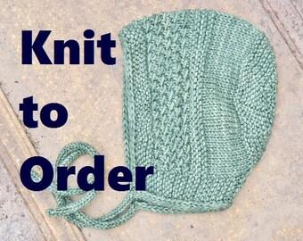 MADE TO ORDER - hand knit superwash merino wool hat - baby wool hat - wool bonnet - winter baby hat - merino wool baby bonnet - merino hat