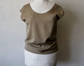 Bamboo silk blouse plain grey ethereal organic clothing eco natural womens minimalist ethical sustainable fashion shirt tops tunic summer