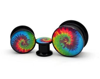 Black Acrylic Tie Dye Picture Plugs gauges - 8g, 6g, 4g, 2g, 0g, 00g, 7/16, 1/2, 9/16, 5/8, 3/4, 7/8, 1 inch