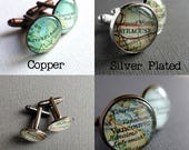 Boyfriend, Husband Valentine's Gift, Keepsake for Men, Place Name Map Cuff Links, Romantic Gift, Personalized