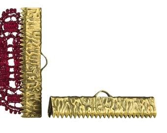 16pcs.  30mm ( 1 3/16 inch )  Antique Bronze Ribbon Clamp End Crimps - Artisan Series