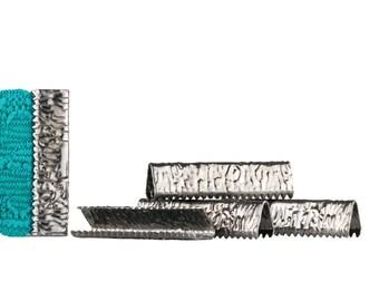 500pcs.  25mm or 1 inch - Gunmetal No Loop Ribbon Clamp End Crimps - Artisan Series